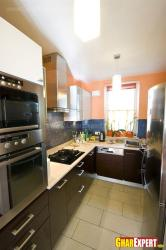 L shaped kitchen in small space