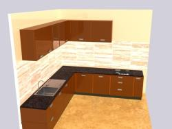 modular kitchen 3D picture