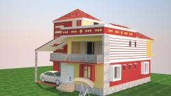 2 storey house elevation rendering in 3-D
