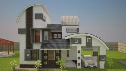 bunglow design elevation with a car park