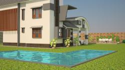 exterior elevation rendering for a modern house