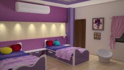 children room with twin beds 3D rendering