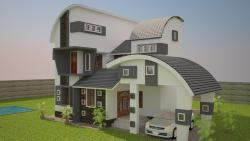 B view of 3 D rendering with curved roof