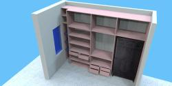 Wardrobe Section elevation with wall design