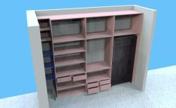 Wardrobe Section 3D elevation