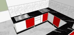Kitchen rendering with dark granite counter