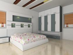 3d bedroom rendering for a large bedroom
