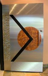 door design with the combination of stainless steel and copper