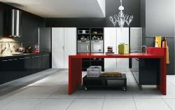 Red and Black Kitchen design