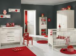 Soothing shades of Gray, Red and white for toddler's room