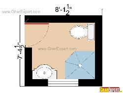 Bathroom Plan for 60 sq feet space