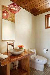 Wooden Bathroom Cabinets and Ceiling