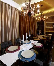 Dining table, lights and curtains