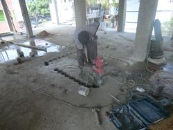 concrete slab cutting work using core cutting machine