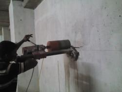 concrete wall cutting work using diamond saw core cutting machine