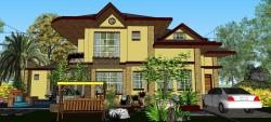 a house with 3 bedrooms,library and entertainment room, living, dinning, kitchen and new designs of windows and doors