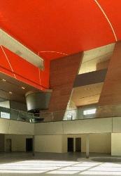 Lobby area with red ceiling