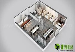 Modern Office 3D Floor Plan Design