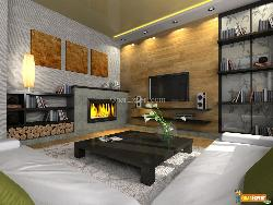 Modern Living Room with lovely Fireplace
