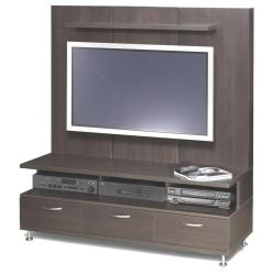 lcd tv stand designs with full wooden board back to hide cables and wires