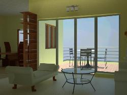 living area with balcony