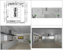 Kitchen design with wall elevation and layout