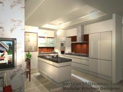 Kitchen design elevation in 3D with an island