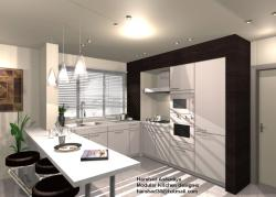 kitchen elevation design with breakfast counter for two