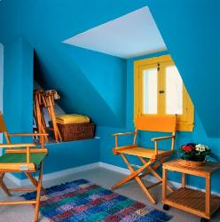 Blue painted room