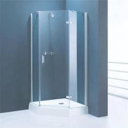 Corner shower enclosure in blue theme bathroom
