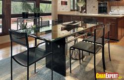 Glass dining with steel stand for kitchen