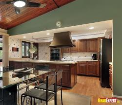 open modular kitchen design  with service counter