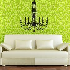 wall decor with wallpaper and wall decal in living area