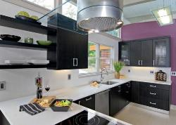 Modern kitchen design in white, black and purple