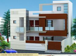 Wood cladding and wooden beams Exterior Elevation 3-D concept