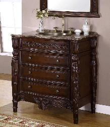 bathroom mirror and wooden chest design