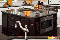 Inbuillt microwave oven in kitchen island