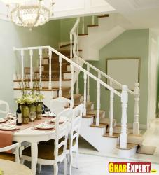 Internal wooden stairs design  for hall