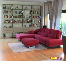 Sectional in cherry color for living room