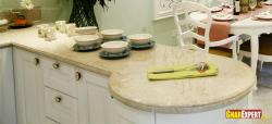 White marble rounded counter top for kitchen