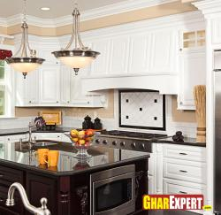 wooden white contemporary cabinets in kitchen
