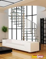 Spiral staircase with steel railing and glass treads for living room