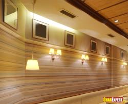 Striped pattern paint and wooden ceiling  for restaurant