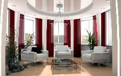 Exclusive ceiling and window curtain style for Drawing room