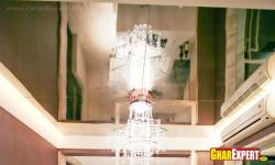 Chandelier and Ceiling design with glass