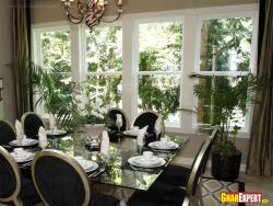 Full size windows in dining room