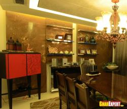 glossy stone wall cladding for dining room