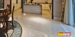 Marble floor pattern for kitchena and dining