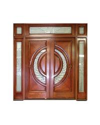 Entrance door design in wood and glass