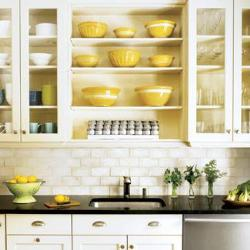 Shelves in the kitchen cabinets